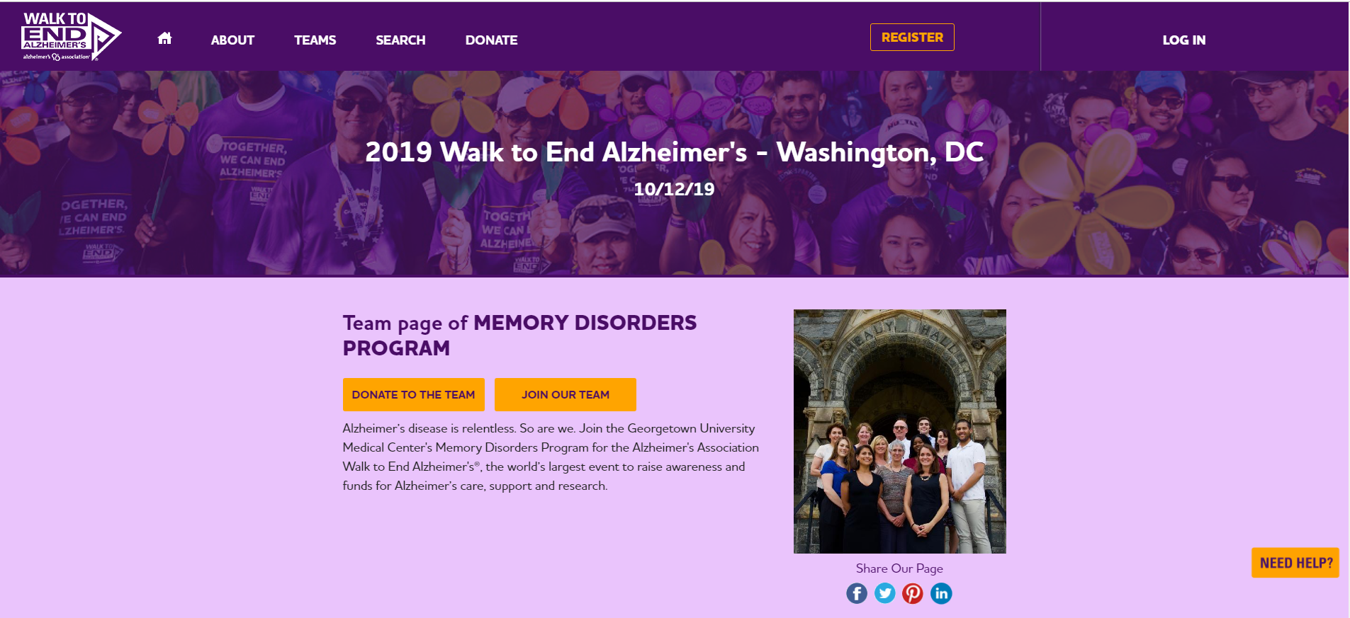 2019 Walk to End Alzheimers, on October 12, 2019, Memory Disorders Program team page.