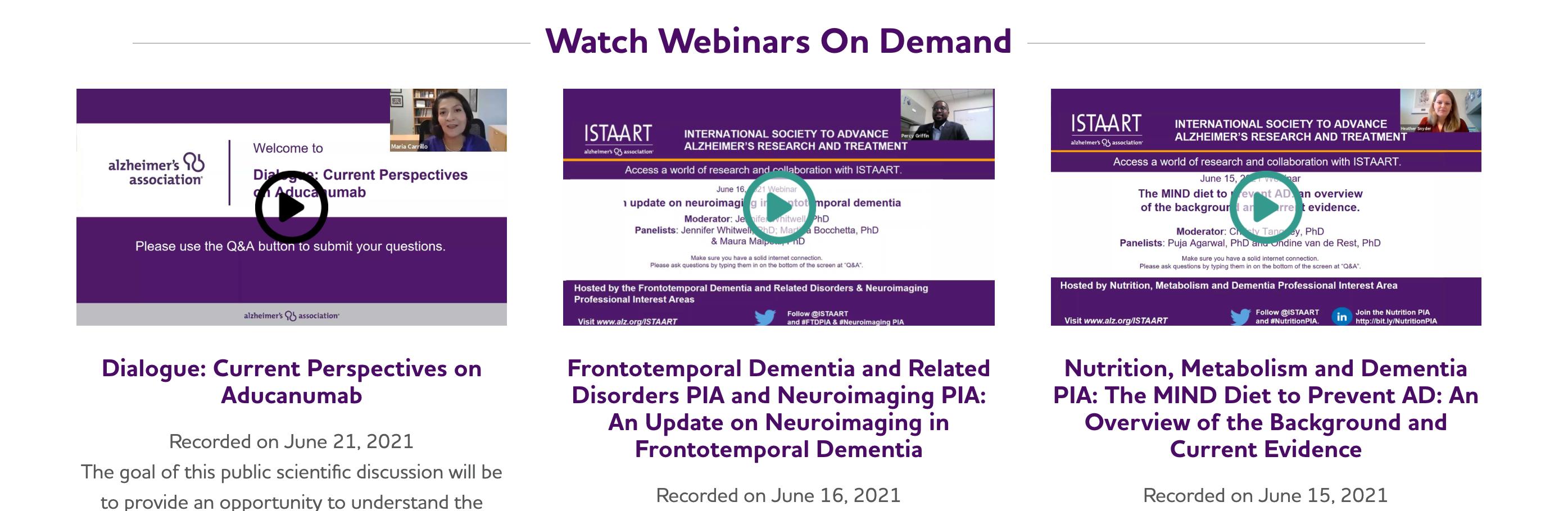 Alzheimer's Association Webpage